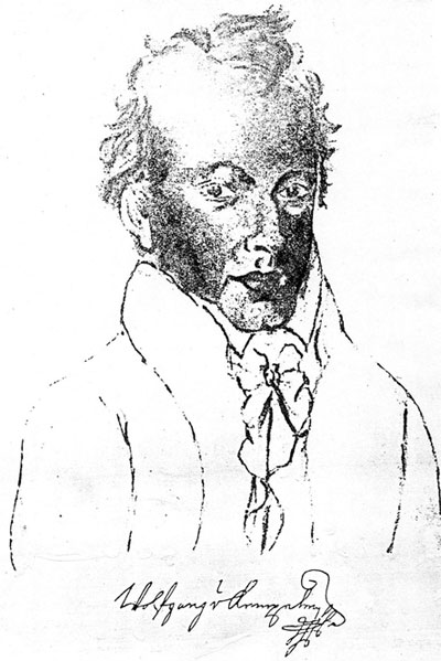 Self portrait and signature of Wolfang von Kempelen