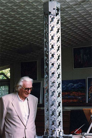 Konrad Zuse with the project of his Helix-Tower