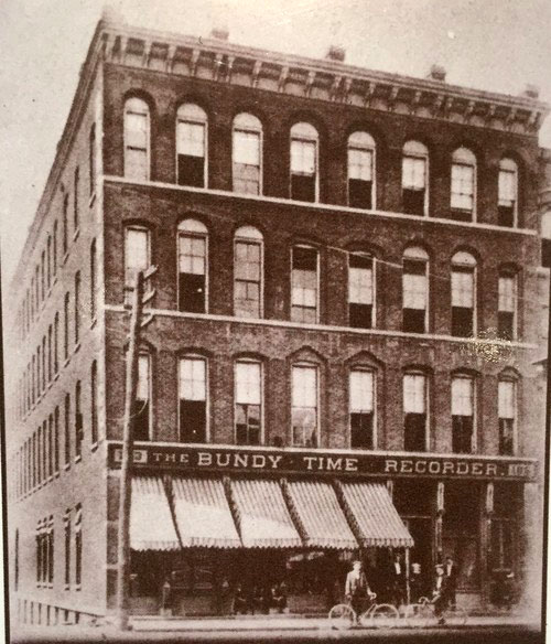 The Bundy Manufacturing Company factory on 183-185 Water Street in Binghamton, N.Y., end of 19th century