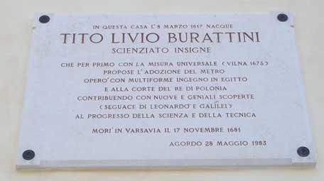 Primary School Tito Livio The native house of Burattini in Agordo and the plaque on the house