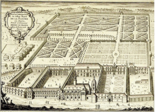 Perspective view of the Royal College in Flèche, middle of the 18th century