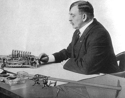 Dorr Eugene Felt with his beloved Comptometer
