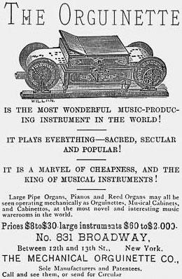 An advertisement for Newman Marshman's Orguinette