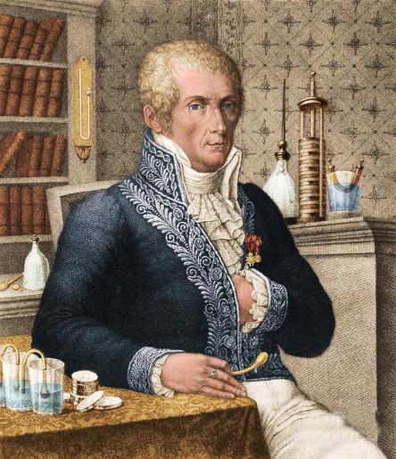Alessandro Volta in his laboratory