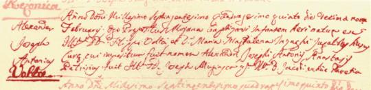 The birth record of Alessandro Volta preserved in the church of San Donnino in Como