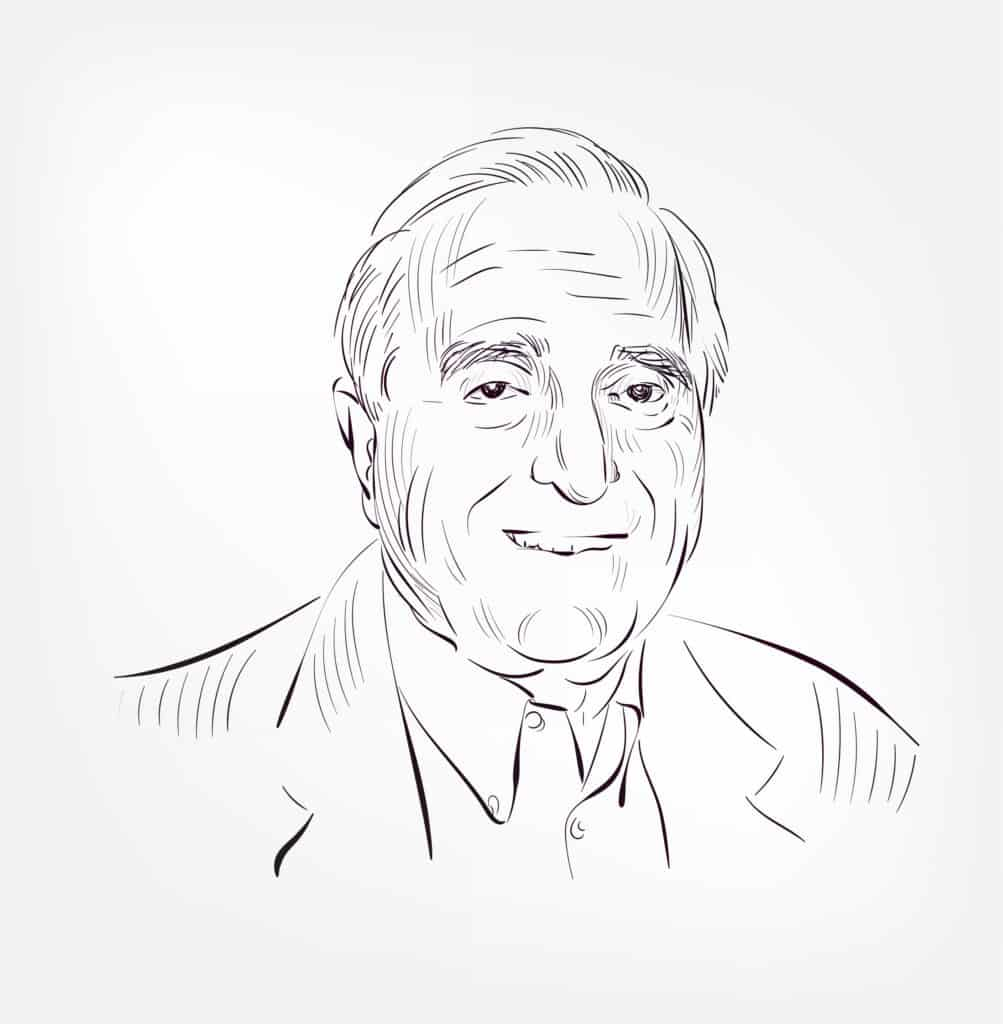 A drawing of Douglas Engelbart