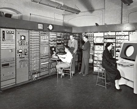 Licklider is pictured here with the Whirlwind computer.