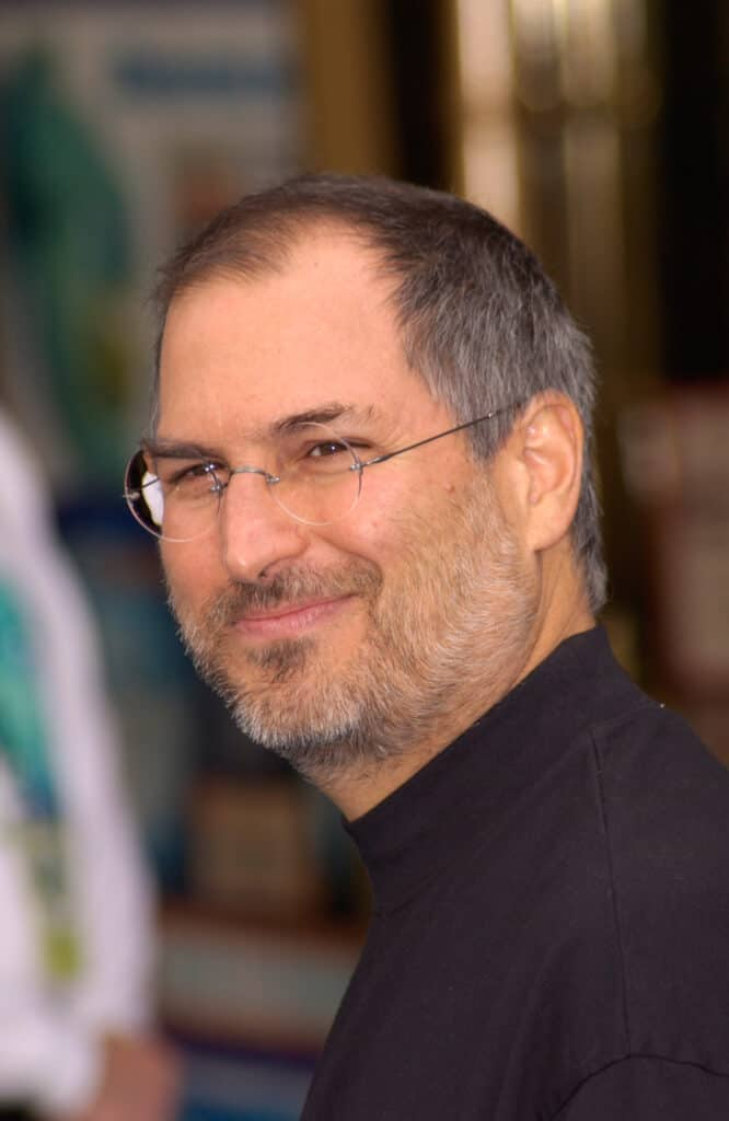 Steve Jobs close-up shot at the premiere of Monsters, Inc.