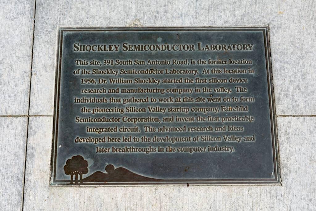 shockley semiconductor laboratories plaque